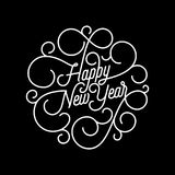 Happy New Year flourish calligraphy lettering of swash line typography for greeting card design. Vector festive ornamental quote N. Ew Year text of swirl pattern Stock Photos
