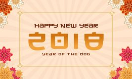 Happy new year with flower background. Vector illustration Royalty Free Stock Photos