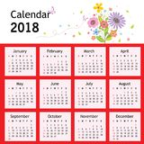 Happy New Year Flower Planner Calendar 2018 Vector Royalty Free Stock Image