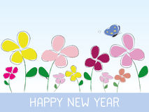 Happy new year flower style Stock Photography