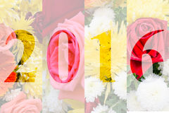 Happy New Year 2016 in Flower Theme Royalty Free Stock Photography