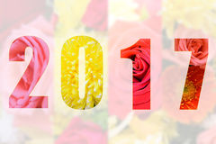 Happy New Year 2017 in Flower Theme Royalty Free Stock Images