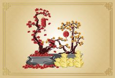 Happy new year with flowers golden ingots and lanterns illustration by line art color on background gold. Happy chinese new year with flowers golden ingots and royalty free illustration