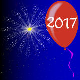 Happy New Year 2017. A flyaway red balloon with a skyrocket explosion with fallout and the text 2017 vector illustration