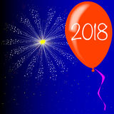 Happy New Year 2018. A flyaway red balloon with a skyrocket explosion with fallout and 2018 new yearstext vector illustration