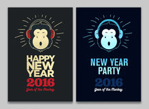 Happy New Year 2016 Flyer, Banner or Pamphlet. Funny monkey with headphones. Eve Party celebration template. Stock Photography