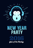 Happy New Year 2016 Flyer, Banner or Pamphlet. Funny monkey with headphones. Eve Party celebration template Stock Photos