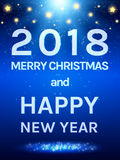 Happy 2018 New Year Flyer. Christmas Greeting Card Royalty Free Stock Photo