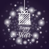 Happy New Year Flyer Design Present Box Over Blue Bokeh Background. Vector Illustration Royalty Free Stock Photography