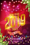 Happy 2019 New Year Flyer, Greeting Card, Invitation, banner Design Template In Colorful lights with illuminations. Christmas and happy New Year garland and stock illustration