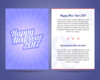 Happy New Year 2017 flyer vector template. Calligraphic font with rays Stock Images
