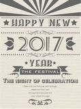 2017 happy new year flyer vintage retro poster. For web royalty free illustration