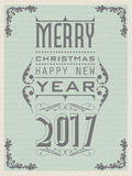 2017 happy new year flyer vintage retro poster. For web and other vector illustration