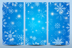 Happy New Year Flyers. Blue background with snowflakes. Modern design vector template.  stock illustration