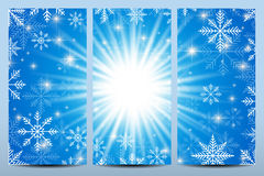 Happy New Year Flyers. Blue background with snowflakes. Modern design vector template Stock Images
