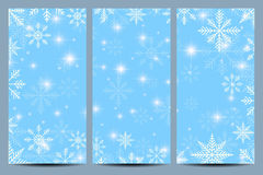 Happy New Year Flyers. Blue background with snowflakes. Modern design vector template Stock Photos