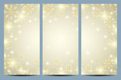 Happy New Year flyers with golden snowflakes. Modern design vector template.  stock illustration