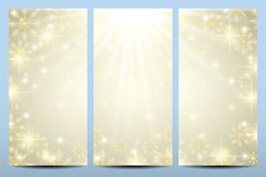 Happy New Year flyers with golden snowflakes. Modern design vector template Royalty Free Stock Photography