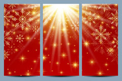 Happy New Year Flyers. Red background with golden snowflakes. Modern design vector template vector illustration