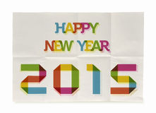 Happy New Year 2015 folded paper poster. Happy new year 2015 trendy vintage folded poster design. EPS10 file with transparency layers stock illustration