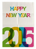 Happy New Year 2015 folded paper poster. Happy new year 2015 trendy vintage folded poster design. EPS10 vector file with transparency layers vector illustration