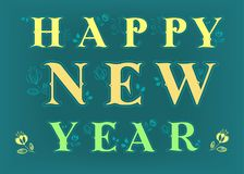 Happy New Year 2018. Folk floral inscription stock images
