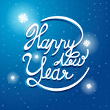 Happy New Year Font on blue and white snow vector background. Royalty Free Stock Images