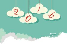 Happy new year 2016 font on the cloud Royalty Free Stock Photos