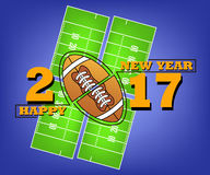 Happy new year and football. Happy new year 2017 and football against the background of American football field. Vector illustration Royalty Free Stock Images
