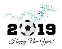 Happy New Year 2019 with football ball and confetti on the background. Soccer ball vector illustration on white. Background stock illustration