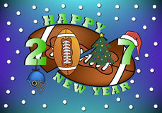 Happy new year and football. Happy new year 2017 and football  with Christmas tree, helmet, ball and hat. Vector illustration Stock Photos