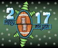 Happy new year and football. Happy new year 2017 and football with Christmas trees.  illustration Stock Photography