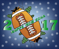 Happy new year and football. Happy new year 2017 and football with Christmas trees. football player jumping with the ball. Vector illustration Royalty Free Stock Images