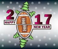 Happy new year and football. Happy new year 2017 and football with Christmas trees. Vector illustration Stock Image