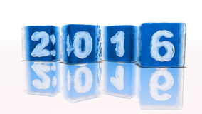 Happy new year 2016. Four blocks of rough blue ice on white background with frozen-in bubbles in the form of numbers 2, 0, 1 and 6 Vector Illustration