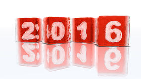 Happy new year 2016. Four blocks of rough red ice on white background with frozen-in bubbles in the form of numbers 2, 0, 1 and 6 Vector Illustration