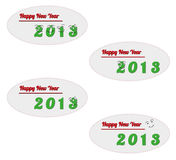 Happy new year 2013. Four cards with happy new year 2013 and funny smiling numbers Stock Image