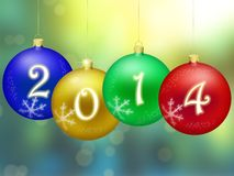 Happy New Year 2014. Four christmas balls with  bokeh background Stock Image