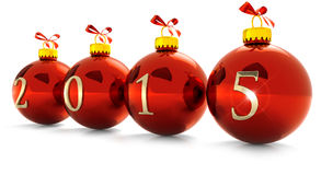 Happy New Year. Four red christmas baubles on white background Vector Illustration