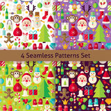 Happy New Year Four Vector Seamless Patterns Set. Happy New Year Four Seamless Patterns Set. Merry Christmas Flat Design Vector Illustration. Tile Background Stock Photos