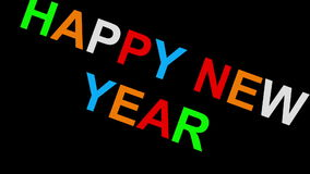 Happy new year - 30fps loop - randomized playful colorful letters 2d stock video footage