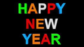 Happy new year - 30fps loop - randomized playful colorful letters 3d stock footage