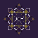 Happy new year 2016 frame art deco joy card line. Happy new year 2016 greeting card frame for the holiday in art deco abstract line style with joy quote. EPS10 Stock Photo