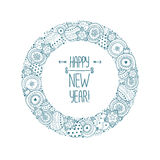 Happy new year frame. Happy new year border with christmas balls, star and snowflake. Vector christmas frame isolated on white background Royalty Free Stock Image