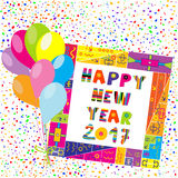 Happy New Year 2017 frame with colorful balloons and confetti. Greeting card Happy New Year 2017 frame with colorfu frame, l balloons and confetti vector illustration