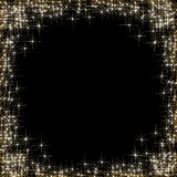 Happy New Year, frame with golden stars on the black background Royalty Free Stock Images