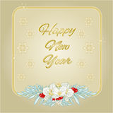 Happy New Year Frame jasmine and snowflakes gold background vector Stock Photos