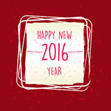 Happy new year 2016 in frame over red old paper background. Holiday seasonal concept Royalty Free Stock Photos