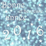 Happy new year 2016, french - 3D render. Happy new year 2016, french, in blue bokeh background with stars - 3D render Stock Image
