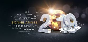 Happy New Year 2019 French Greeting Card. Happy New Year and best wishes in French language, 2019 date number composed with planet earth colored in gold, on a stock illustration